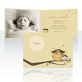 Geburtskarten - Huhu Eule