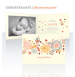 Geburtskarte Blumenmuster