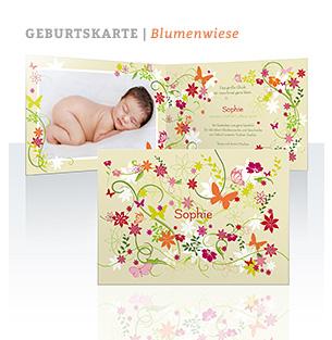 Geburtskarte Blumenwiese