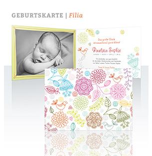 Geburtskarte Filia