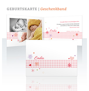 Geburtskarte Geschenkband