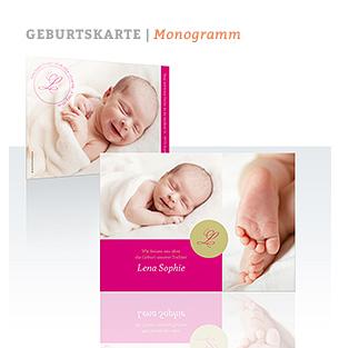 Geburtskarte Monogramm