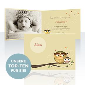 Unsere Top-Ten Geburtskarten und Taufkarten